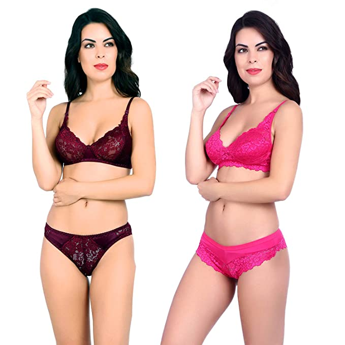 70054cb16f8f2 Akakee Women s Everyday Non Padded Wire Free Full Coverage Lace Bra Panty  Set with Adjustable Straps