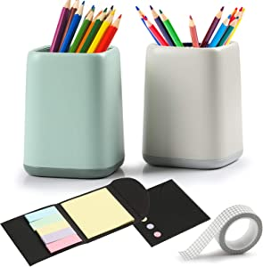 2 Desk Pen Holder Pencil Holder Makeup Brush Cup for Desk,Vanity Table,Office Supplies,coming with 1 Sticky Notes,1 Roll Grid Washi Tape for Reminder Office DIY Scrapbooking Decor Crafts Gift Wrapping