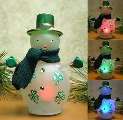 Very best Amazon.com: Irish Snowman - LED Lighted Glass Snowman with Painted  HM23
