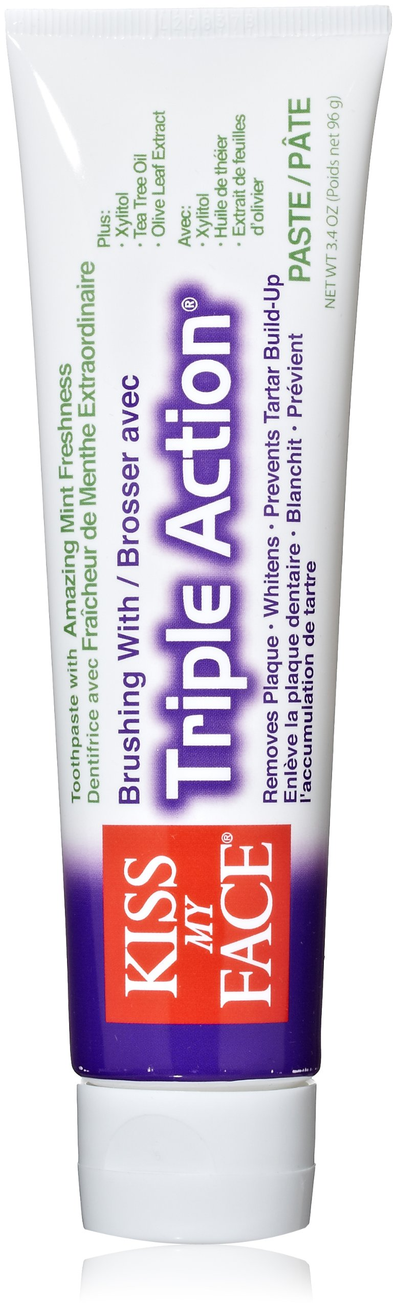 Kiss My Face Triple Action Fluoride Free Toothpaste, 3.4 Ounce