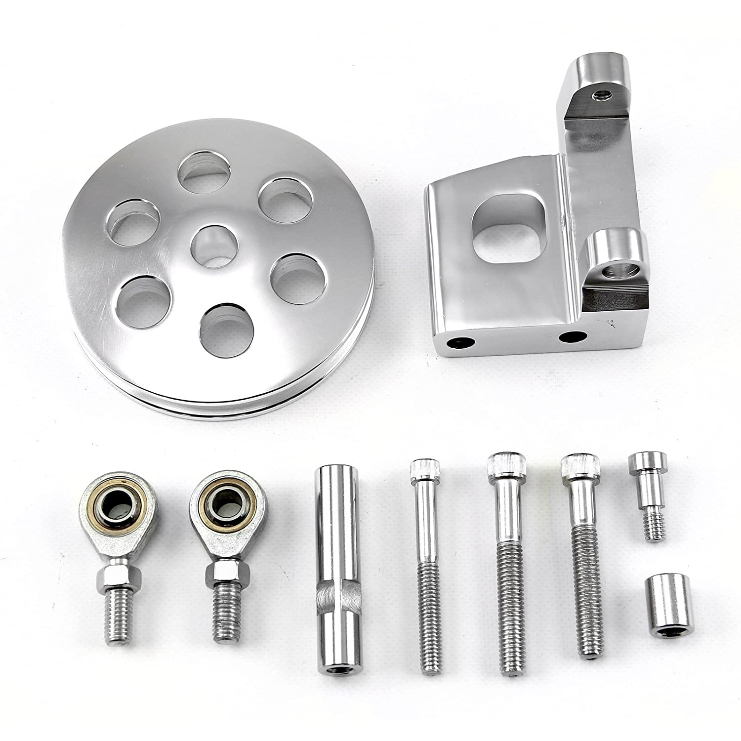 CHEVY SBC 350 Type2 Billet Polished Aluminum Power Steering Bracket Kit w//Pulley