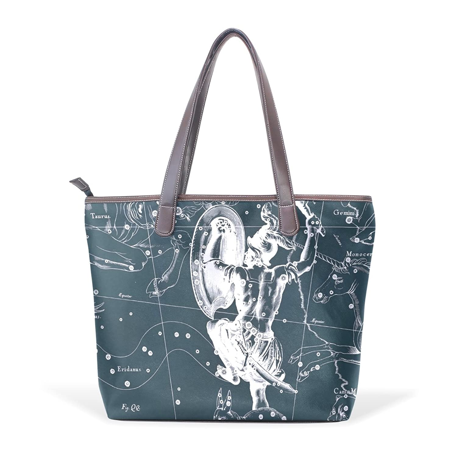 Womens Leather Tote Bag,Fantasy Constellation Graph Orion,Large Handbag