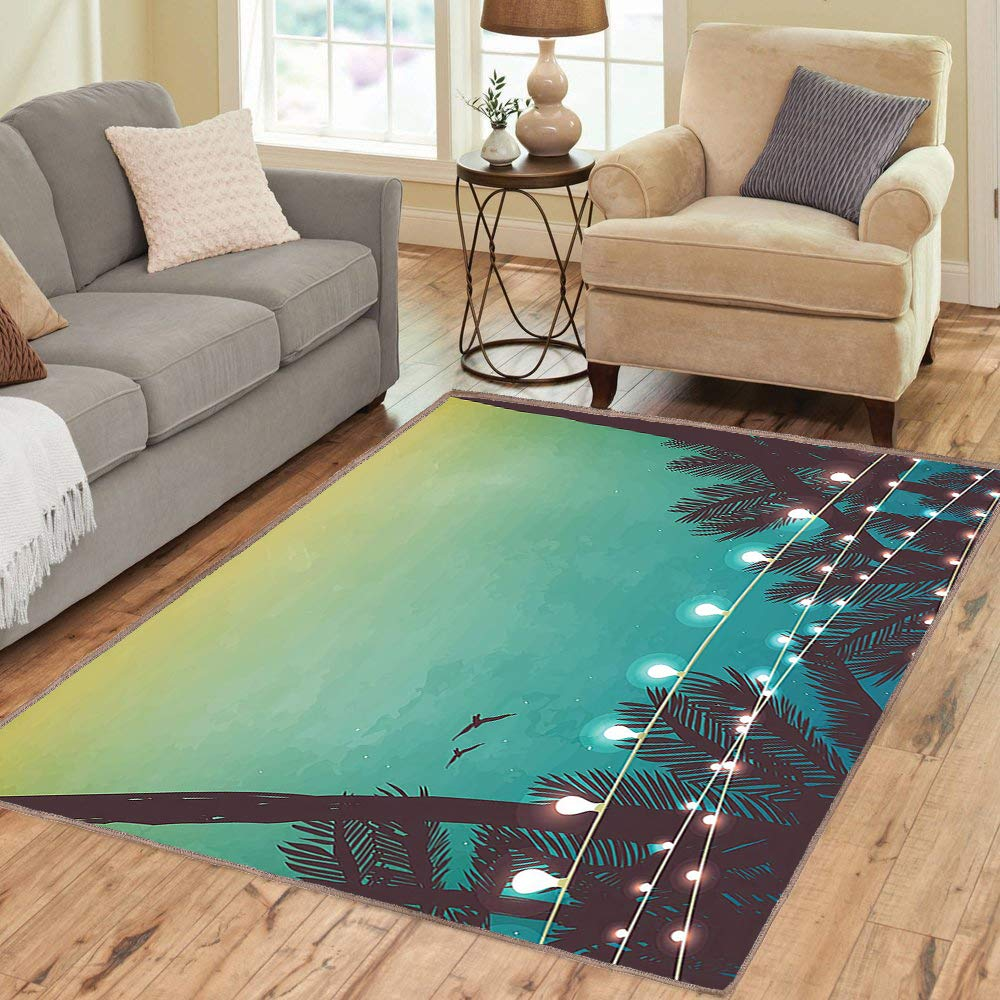 Rug,Floor Mat Rug,Apartment,Area Rug,Night Time Beach Sunset with Little Lantern and Island Palm Trees Art Print,Home mat,3
