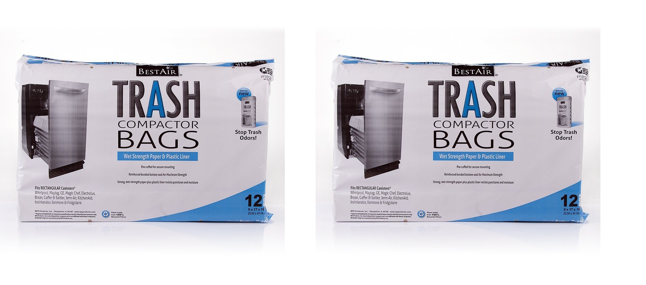 RPS PRODUCTS Trash Compactor Bags(16'' D. x 9'' W. x 17'' H, 2 pack of 12 Bags)
