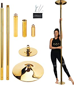Lamplighter Creations Professional Dance Pole Kit - Spinning Static Portable Removeable Dance Pole for Home, Exercise Club, Party & Pub Comes with Toolkit Gold - Unisex