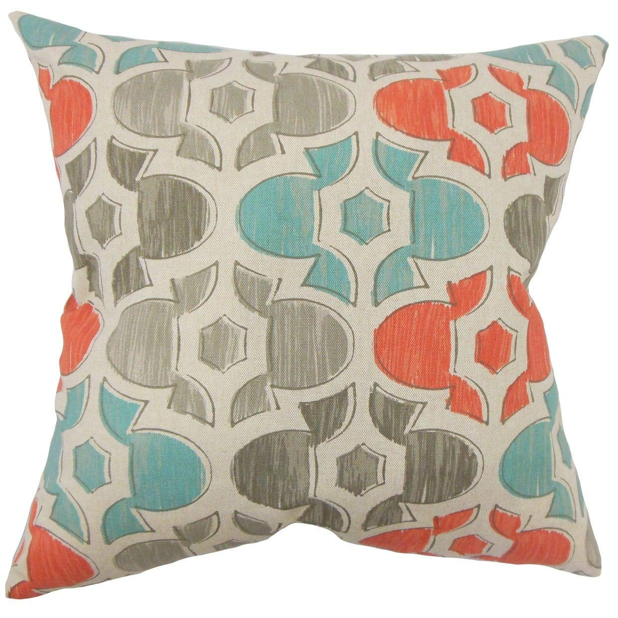 The Pillow Collection Zane Geometric Multicolor Down Filled Throw Pillow