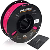 OVERTURE PETG Filament 1.75mm with 3D Build Surface 200 x 200 mm 3D Printer Consumables, 1kg Spool (2.2lbs), Dimensional…
