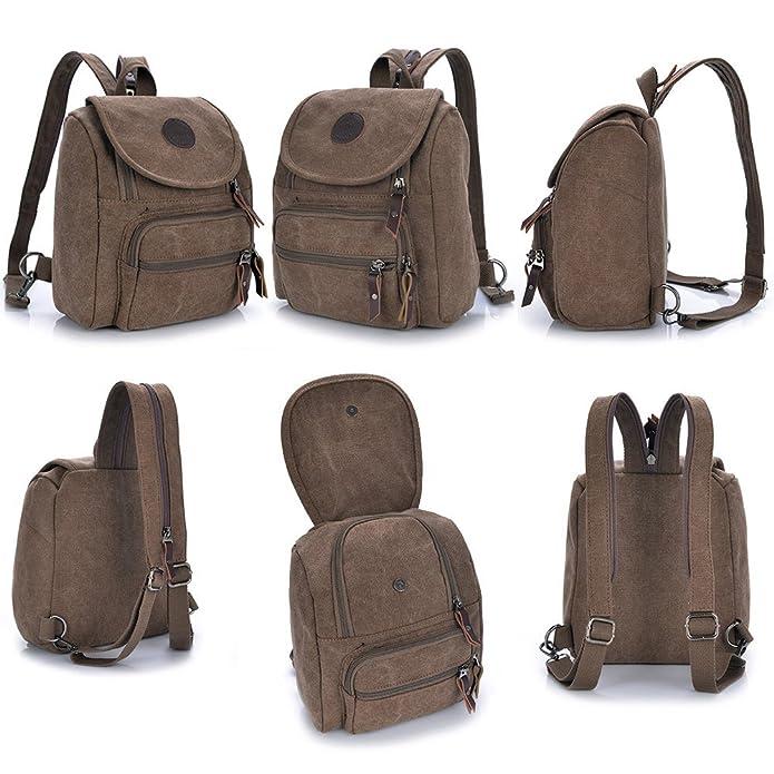 Hiigoo Multi Zipper Pocket Small Cross Body Shoulder Bag Backpack FBB0031-03