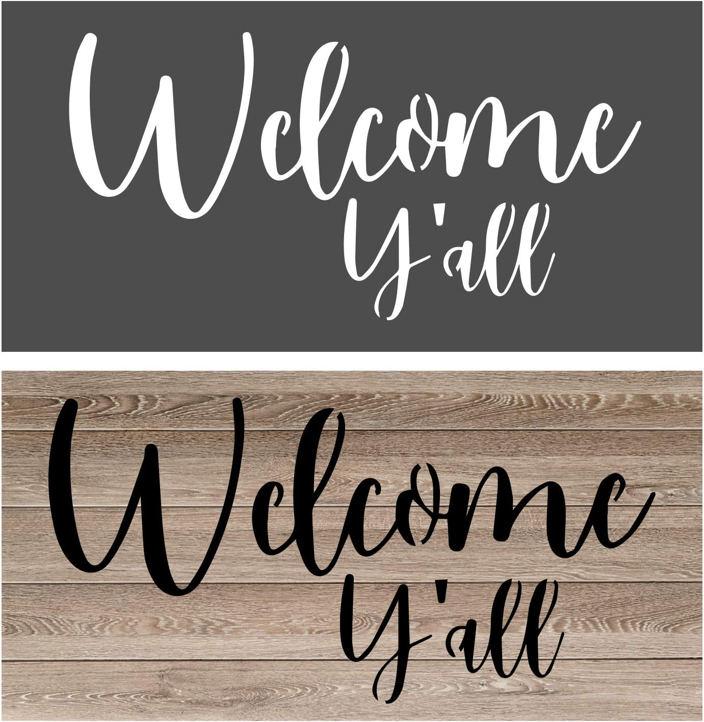 OCCdesign Welcome You All Sign Stencils - Rustic Farmhouse Inspirational Template for Painting Spraying Crafts Décor