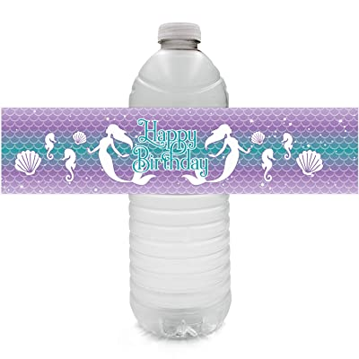 Mermaid Birthday Water Bottle Labels - 24 Stickers: Home & Kitchen
