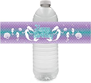 Mermaid Birthday Water Bottle Labels - 24 Stickers