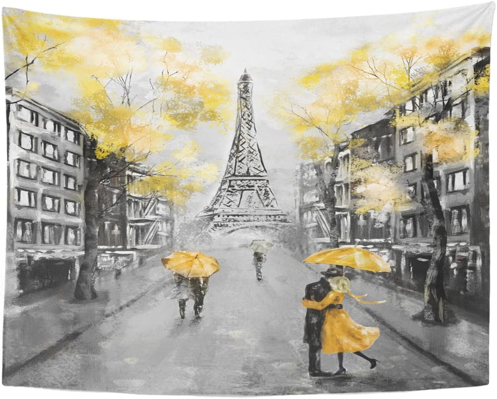 Emvency Tapestry Oil Painting Paris European City Landscape France Eiffel Tower Black White and Yellow Modern Couple Under Home Decor Wall Hanging for Living Room Bedroom Dorm 60x80 inches