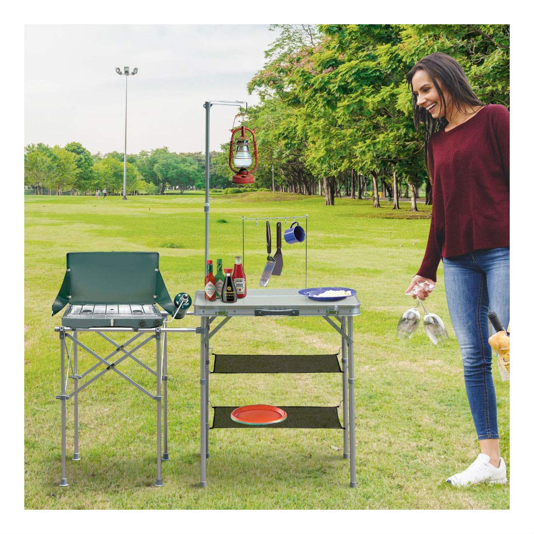 Picnic Table Camping Kitchen Stand Center Outdoor Food Prep Folding Portable