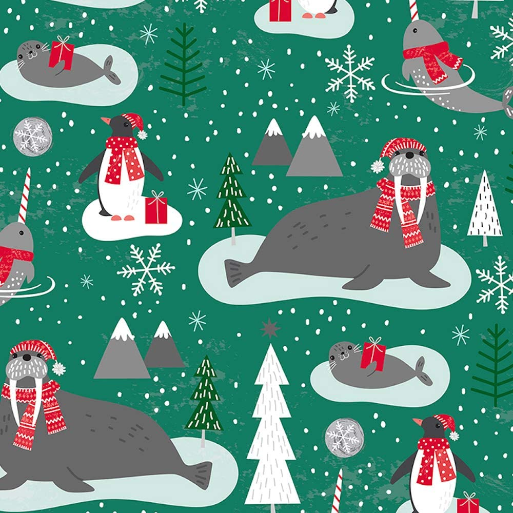 Walrus Narwhal & Penguin Holiday Gift Wrap Roll - 24