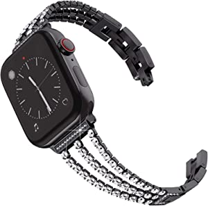Surace Compatible with Apple Watch Bands 38mm Series 3 Women Bracelet Replacement for Apple Watch Bands Series 6 Series 5 Series 4 40mm Band Compatible with Apple Watch SE Band, Black