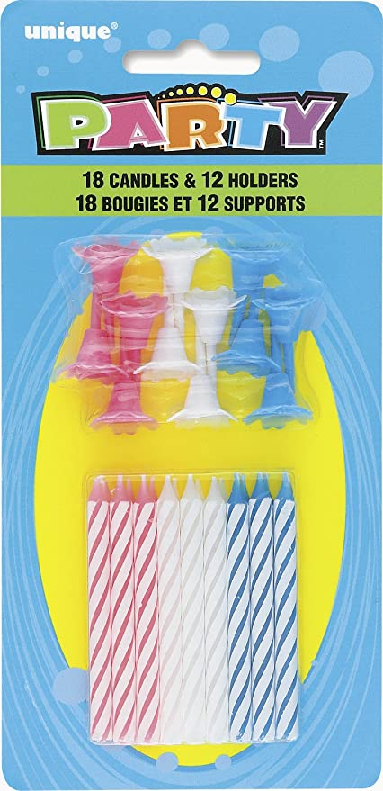 Striped Birthday Candles With Holders 30pc