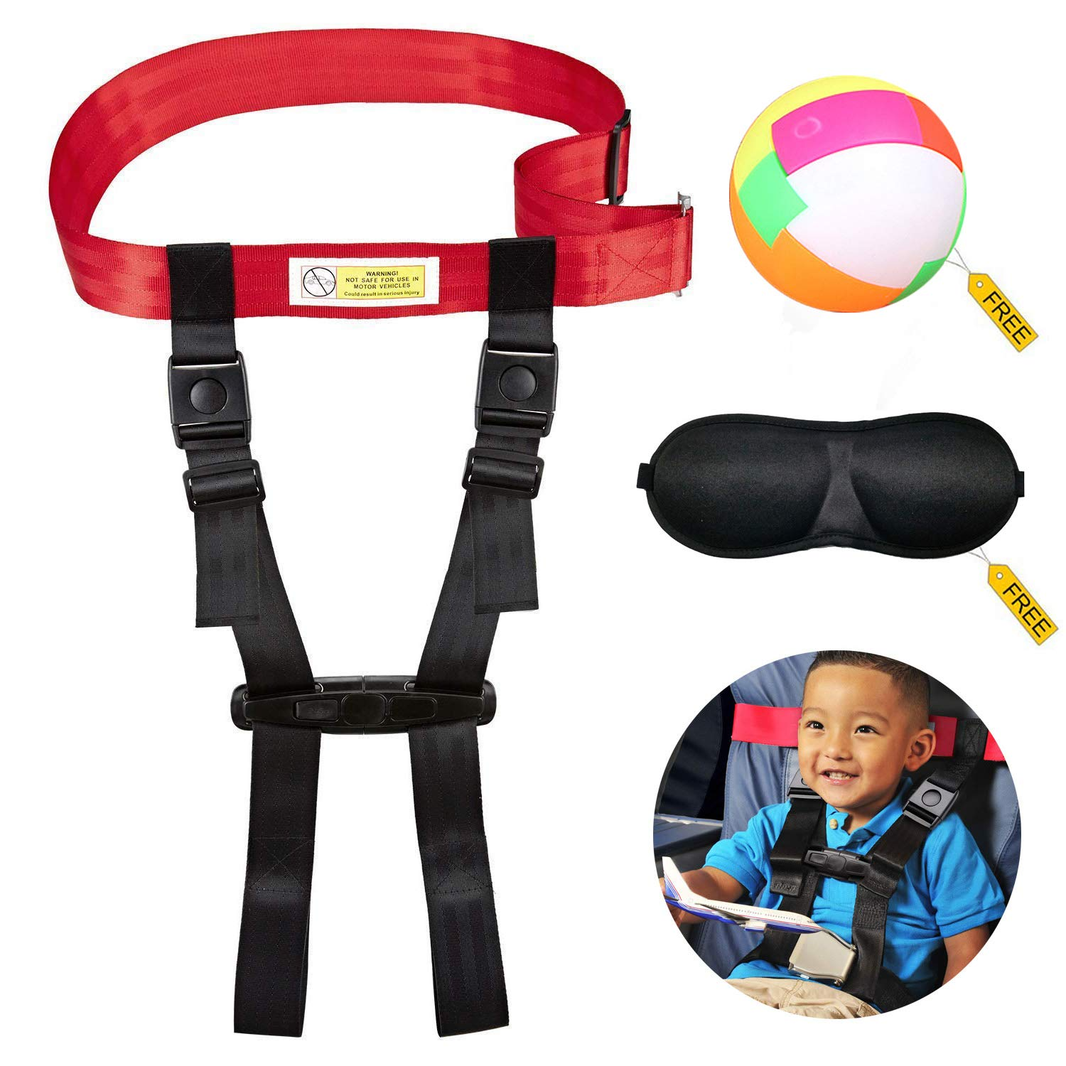 Child Airplane Travel Safety Harness,A Seat Belt That Restraint Kids When Flying,The Travel Harness Clip Strap Will Keep Your Children Safe and Give Free Gift.