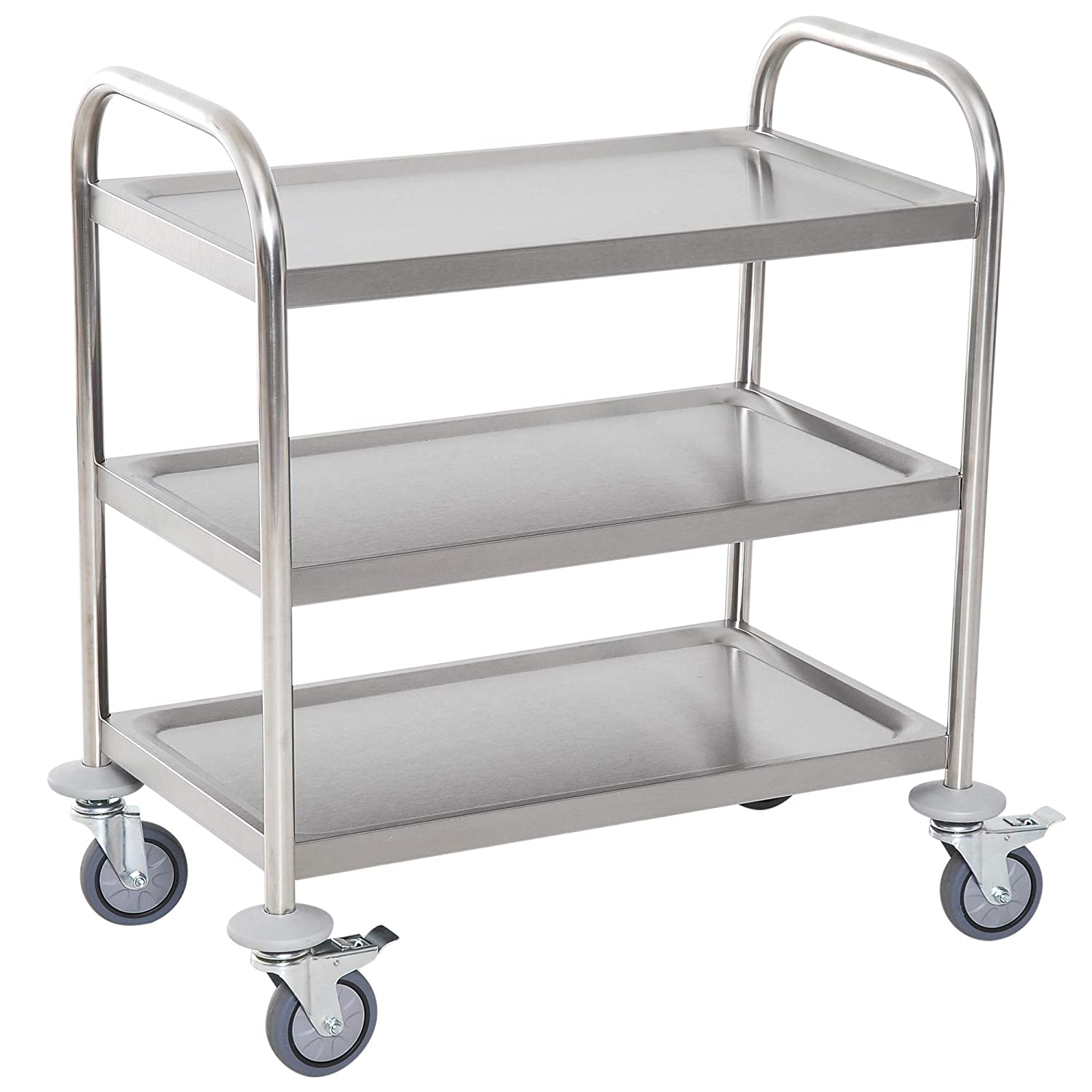 HOMCOM Stainless Steel 3 Tier Rolling Kitchen Service Cart Catering Storage Trolley Island Utility with Locking Wheels for Hotels Restaurants 70.5L x 40.5D x 81H (cm) Sold by MHSTAR