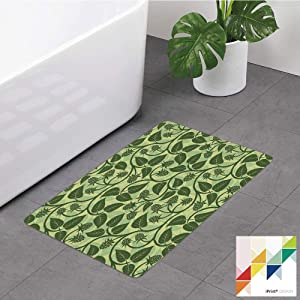Memory Foam Bathroom Rugs, Fruits,Raspberry Leaves Mediterranean Garden Style Growth Season Nature Theme Decorative,Olive And Pale Green, Non-Slip Bath Mat Soft Absorbent Kitchen Rug Shower Floor Carp