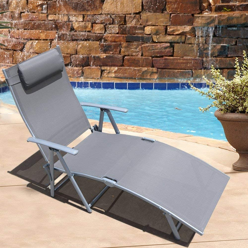 Le Papillon Adjustable Chaise Lounge Chair Recliner Outdoor Patio Pool Folding Lounge Chair – Gray