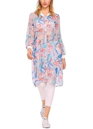 c77ae0d9519 Zeagoo Women s Long Sleeve Sheer Chiffon Blouse Floral Shirt Dress ...