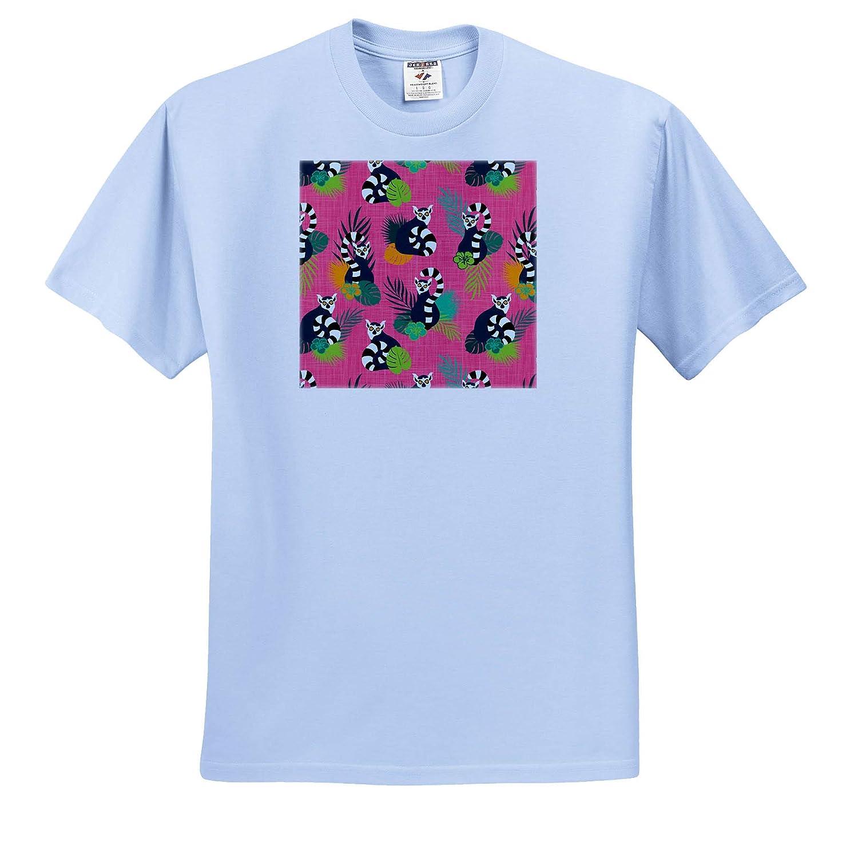 3dRose Janna Salak Designs Tropical Tropical Lemurs Pink ts/_319859 Adult T-Shirt XL