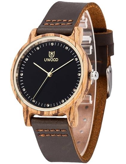 Reloj De Madera Para Mujer Y Mujeres-ArtesaníA Hecha A Mano Relojes De Madera-Banda De Cuero Del Reloj - Reloj De Pulsera De éBano: Amazon.es: Relojes