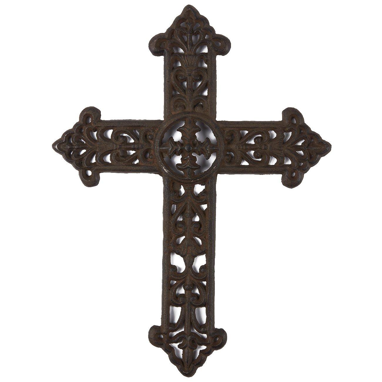 Juvale Wrought Iron Cross Decoration - Rustic Celtic Cross, Metal Cross Christian Religious Art Lovers, Dark Bronze, 15 x 11.3 x 0.5 inches