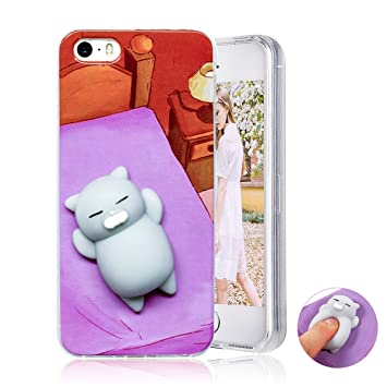 Funda iPhone 5 5s SE ,Haobuy Cute Squishy 3D Gato Slow Rising Squeeze Cat TPU Carcasa Case Cover para Apple iPhone 5 5s SE [Púrpura Gato]