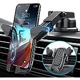 [2021 Auto Clamping Slide-in] VANMASS Car Phone Mount, 【Durable Aluminium Alloy】Handsfree Car Phone Holder Dash Windshield Ve