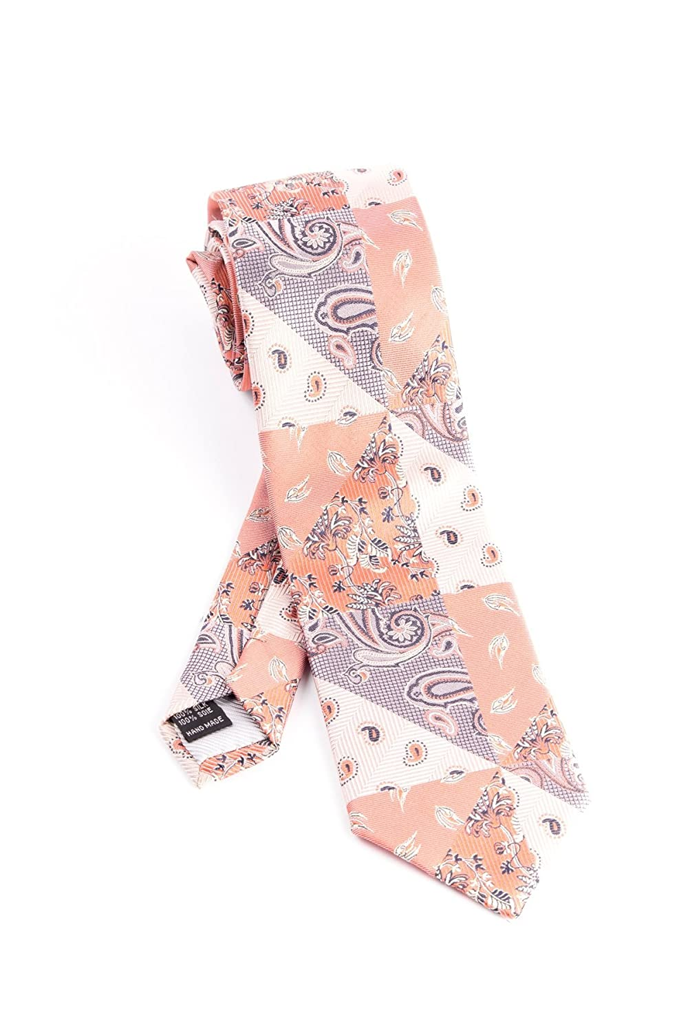Pure Silk Peach Cream and Light Pink Patch Tie by Tiglio Luxe