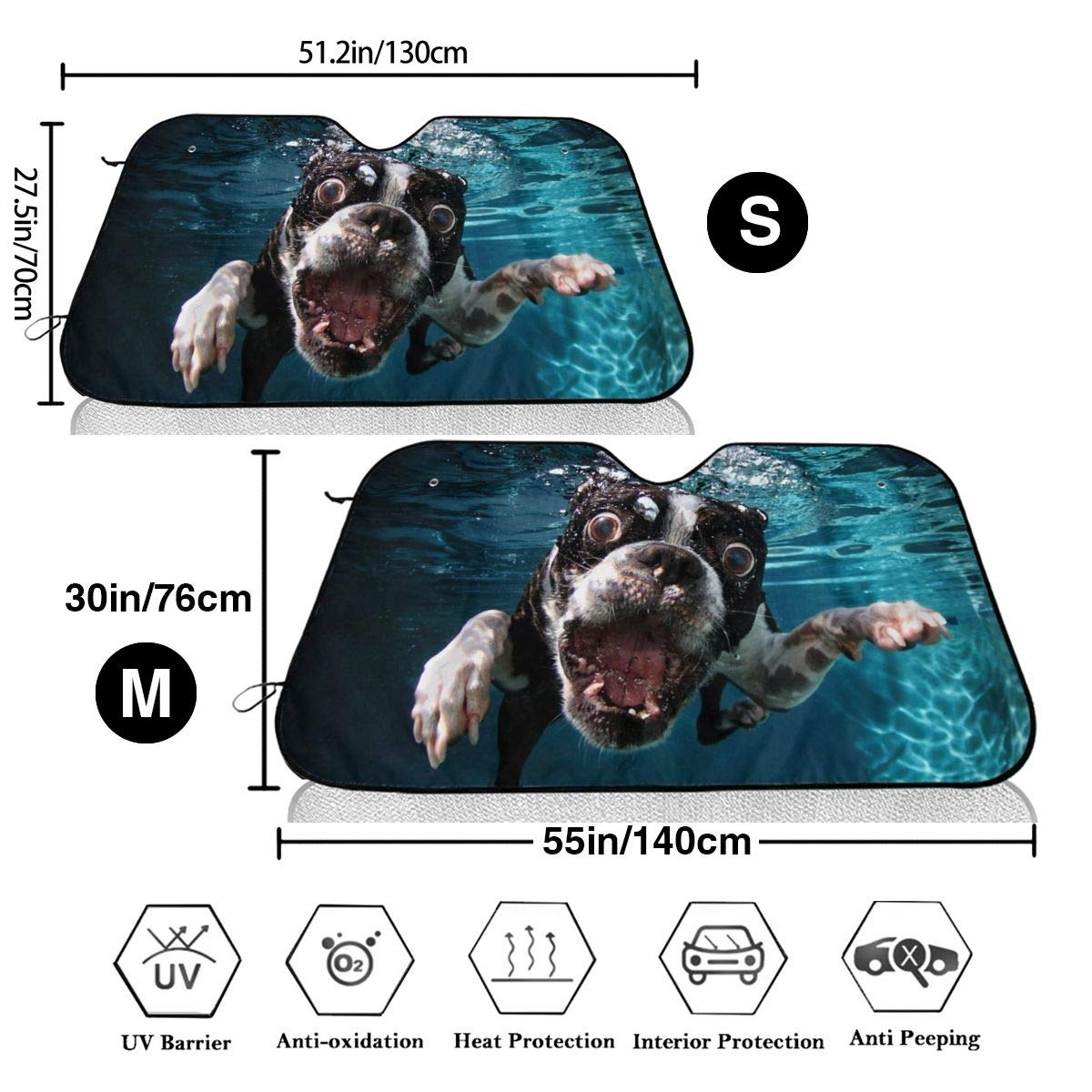 TPSXXY-WS Funny Boston Terrier Windshield Sunshade for Car SUV Truck Foldable UV Ray Reflector Front Window Sun Shade Visor Shield Cover