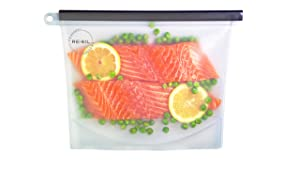 Re-Sil Pure Silicone Eco-Friendly Food Storage Bag - No Filler No BPA No BPS - Airtight, Leak Free - Cooking - Freezer - Store [2 Per Pack 1 Large + 1 Medium]