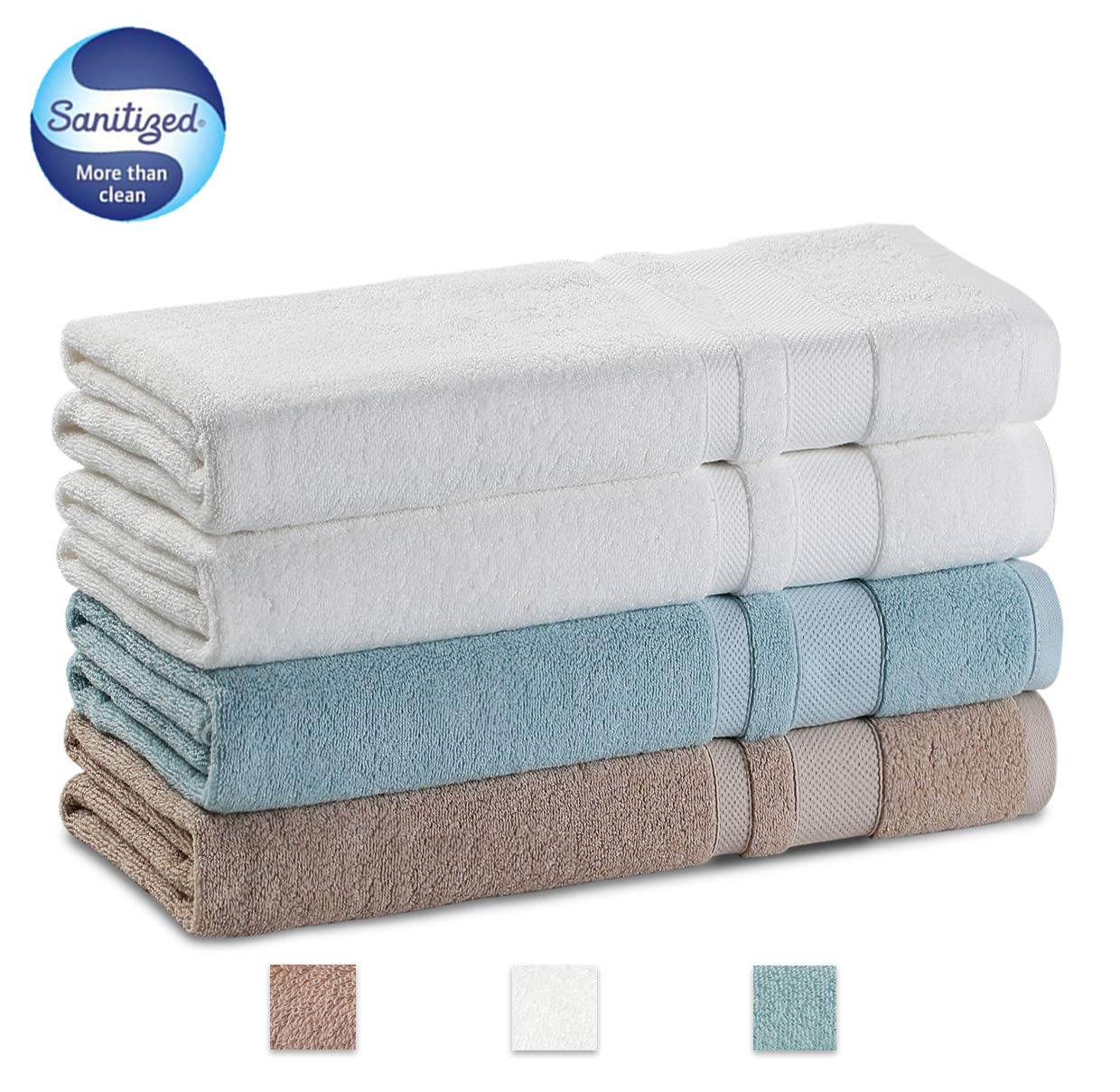 GRACE ORCHID Luxury Family Microfiber Towel Set 4 Piece Bath Towels 56x28 Inch-100% Long Staple Cotton Super Soft, Machine Washable, Ultra Absorbent and Hotel spa Collection(White, Light Blue,Brown)