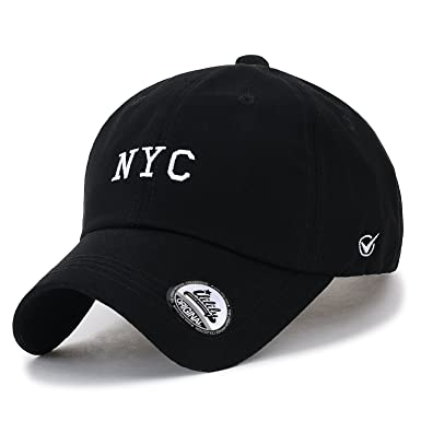 Ililily Cotton Nyc Embroidery Baseball Cap Solid Color Casual