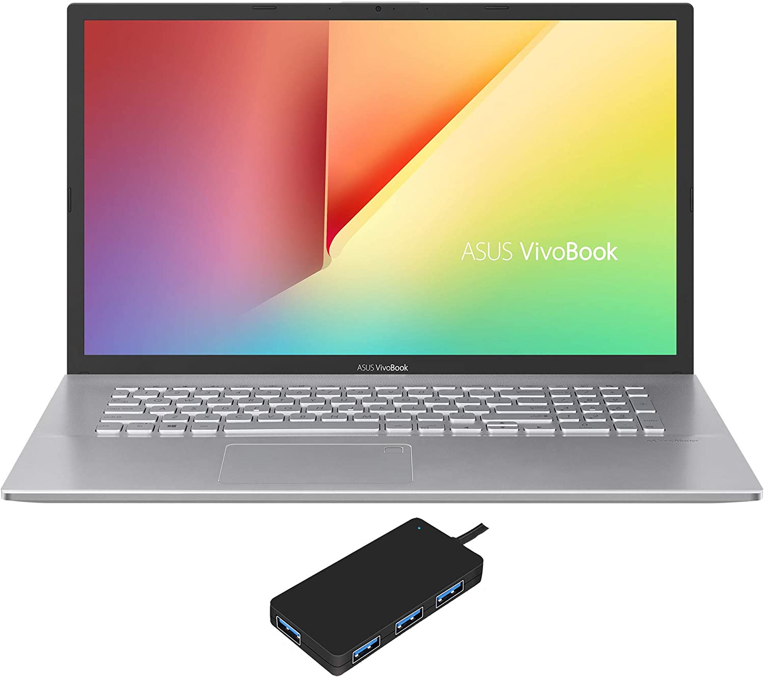 ASUS VivoBook 17 S712FA-DS76 Home and Business Laptop (Intel i7-10510U 4-Core, 24GB RAM, 128GB PCIe SSD + 1TB HDD, Intel UHD Graphics, 17.3