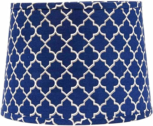 Grey Quatrefoil Regular Clip Drum Lampshade White Home Collection by Raghu 10 Cobalt