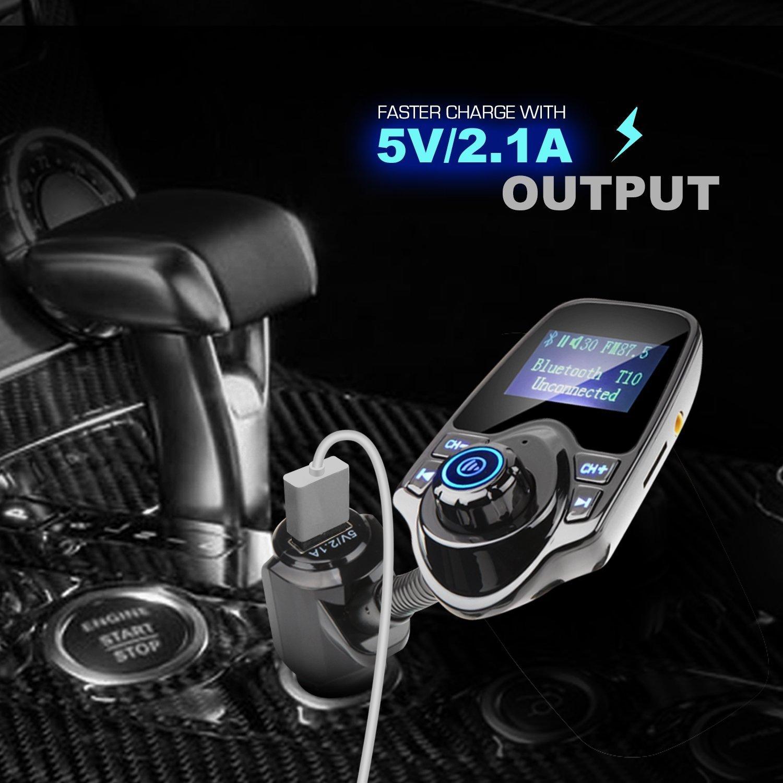 AMANKA Transmetteur FM Bluetooth Kit de Voiture Mains Libres sans Fil Chargeur USB de Voiture avec 3,5mm Port Audio,Fente pour Carte TF pour Smartphone,/Écran de 1,44 Pouces