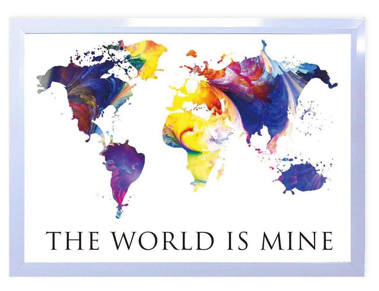 【DXポスター】世界地図のポスター フレーム付きシンプルモダン カラフル シンプルP-A1-1610-POPA-003-wh P-A1-1610-POPA-003-wh B073SGCDJDA1サイズ(84.1cm×59.4cm)+ホワイトフレーム