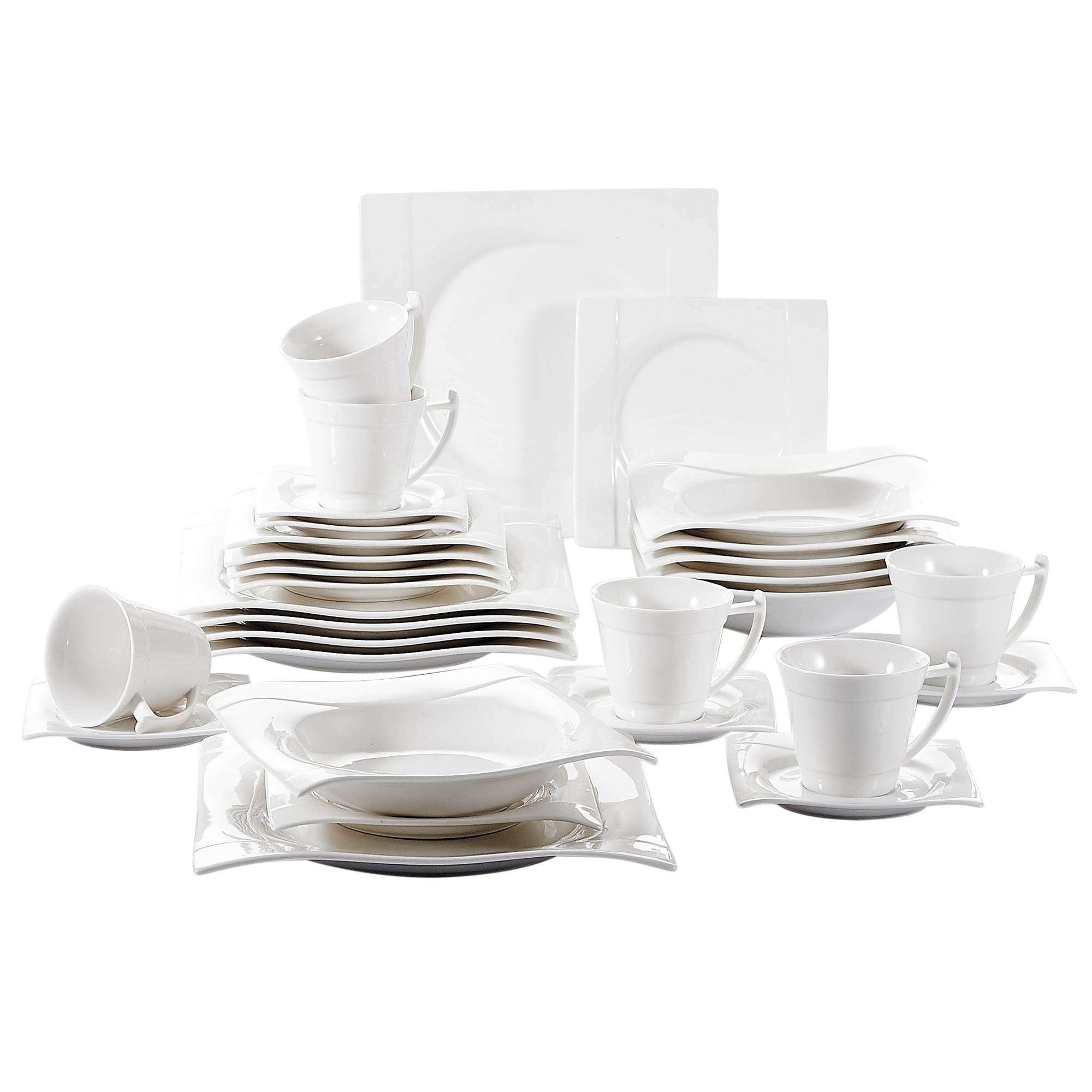 Vancasso 30 Pieces Ivory White Porcelain Dining Service Tableware Set of 6 x Cups/Saucers/Dinner Plates/Dessert Plates/Soup Plates for 6