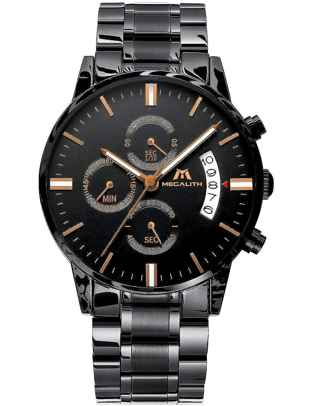 Relojes de Hombre Reloje Grandes de Pulsera MilitaryCronógrafo Impermeable Negro Acero Inoxidable Reloj para Hombres Calendario Lujo Diseño Analógico