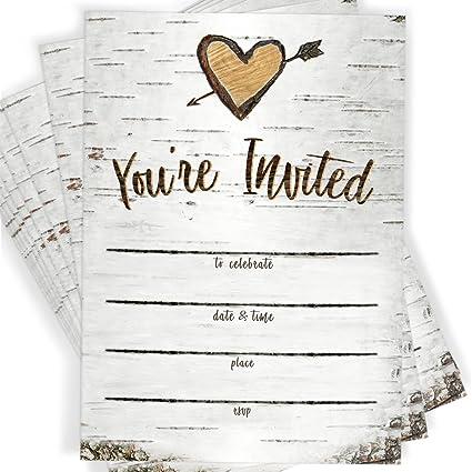 amazon com birch tree bark fill in party invitations envelopes