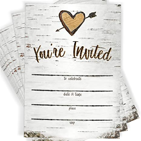 Birch Tree Bark Fill In Party Invitations And Envelopes Set Of 25 Rustic Country Invites All Occasions Bridal Shower Baby Rehearsal