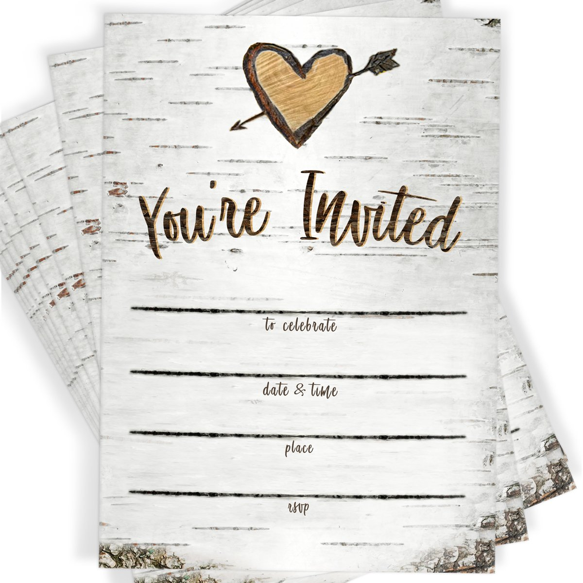 Birch Tree Bark Fill-in Party Invitations and Envelopes | Set of 25 Rustic Country Invites | All Occasions - Bridal Shower, Baby Shower, Rehearsal Dinner, Birthday Party, & Anniversary