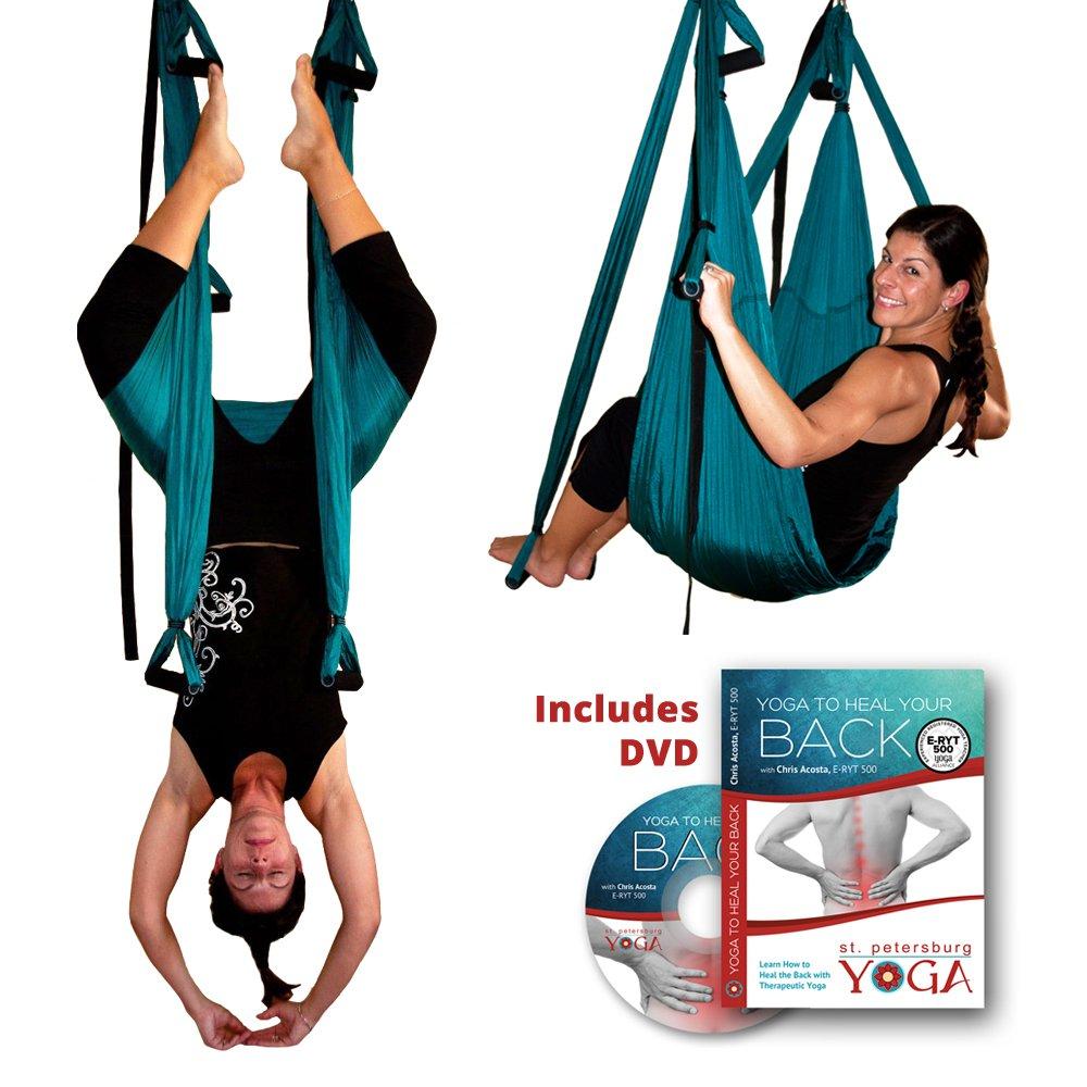 Inversion Sling - Original GravoTonics Yoga Swing (Teal) + Yoga Back DVD