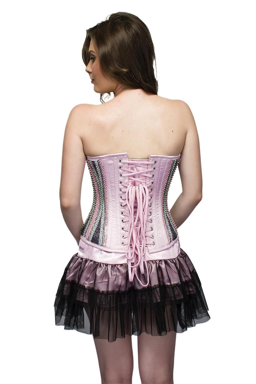 882979b1998 Pink Satin Black Silver Sequins Goth Burlesque Waist Cincher Overbust Corset  Top  Amazon.co.uk  Clothing