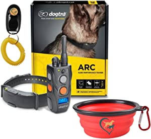 Dogtra ARC Dog Training Collar - 3/4 Mile Range, Waterproof, Rechargeable, Static, Vibration, Fits 15lbs & Up, Includes Free Essential Pet Products Dog Training Clicker and Collapsible Pet Food Bowl