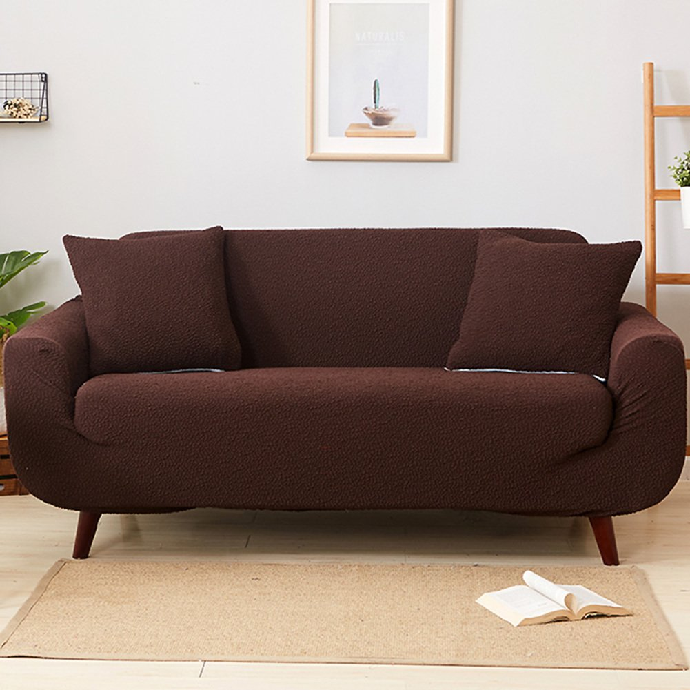 Couch cover solid color,High elasticity sofa furniture protector couch cover perfect for pets and kids sofa furniture protectors sectional sofa throw pad-A 4 Seater(90118inch)