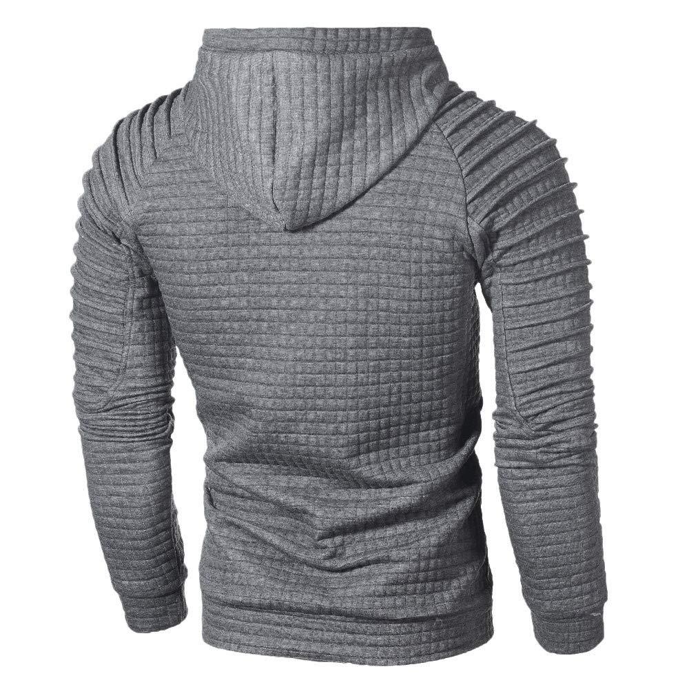 POQOQ Sweatshirts Outwear Men Fashion Long Sleeve Pleated Plaid Hoodies Trendy