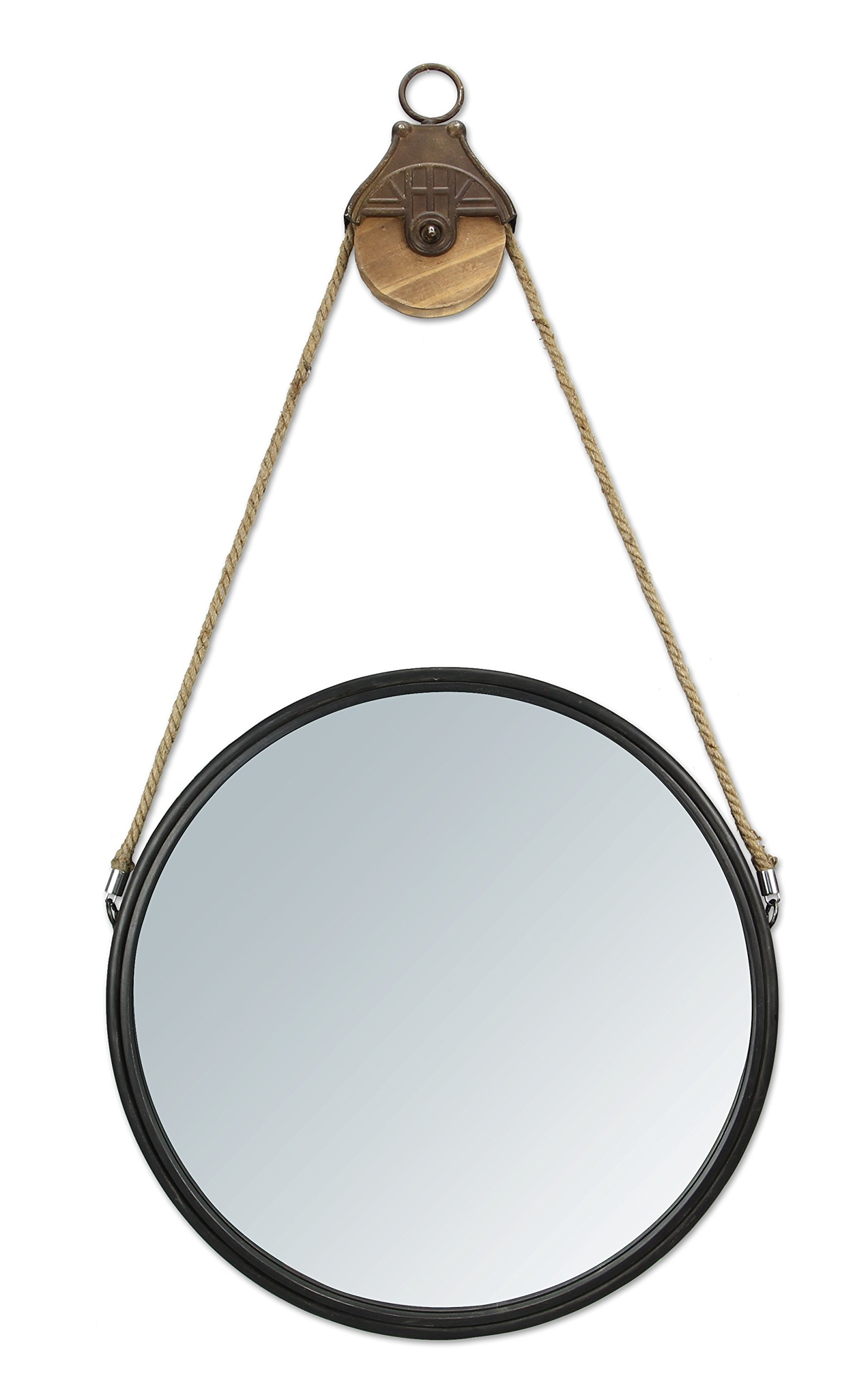 "Young's 21"" x 2"" x 40.25"" Inc Metal Pulley Round Wall Mirror - Measures 21x 2x 40.25 Made of metal High Quality item - bathroom-mirrors, bathroom-accessories, bathroom - 71hHFtlFZfL -"